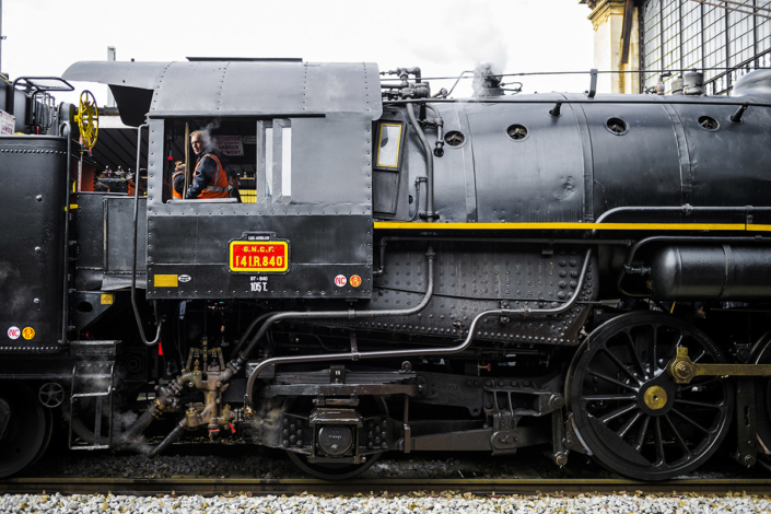 Locomotive à vapeur 141R840 à Paris Austerlitz le 21 octobre 2017 (photo Nicolas Laverroux)