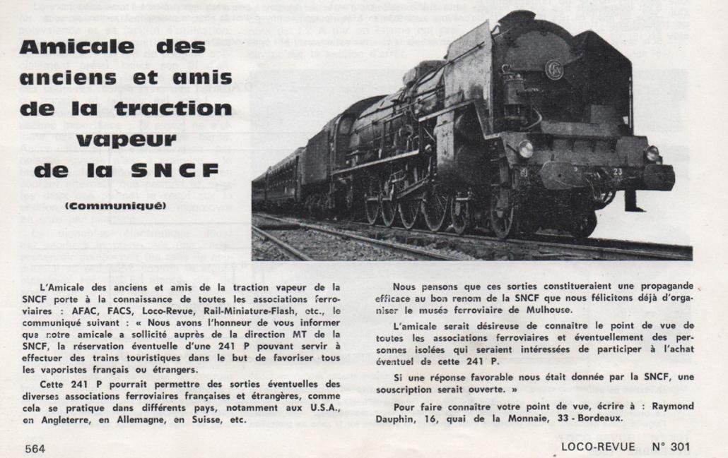 Loco revue, décembre 1969 : locomotive vapeur 241 P